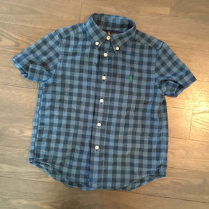 Ralph Lauren Kids Blue Checked Button Down Shirt